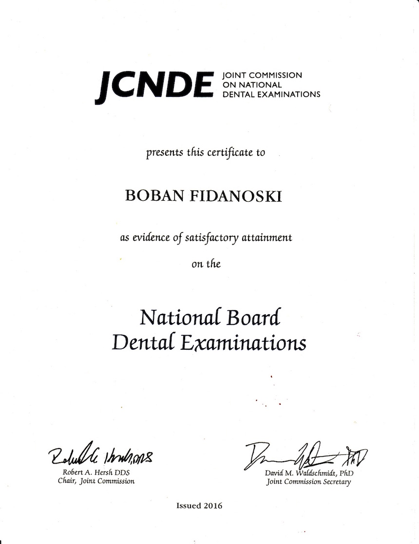 Drban fidanoski dmd passed the united states nbde national board of dental examination part i and ii and obtained the right to register as a dentist in united states of xflitez Choice Image